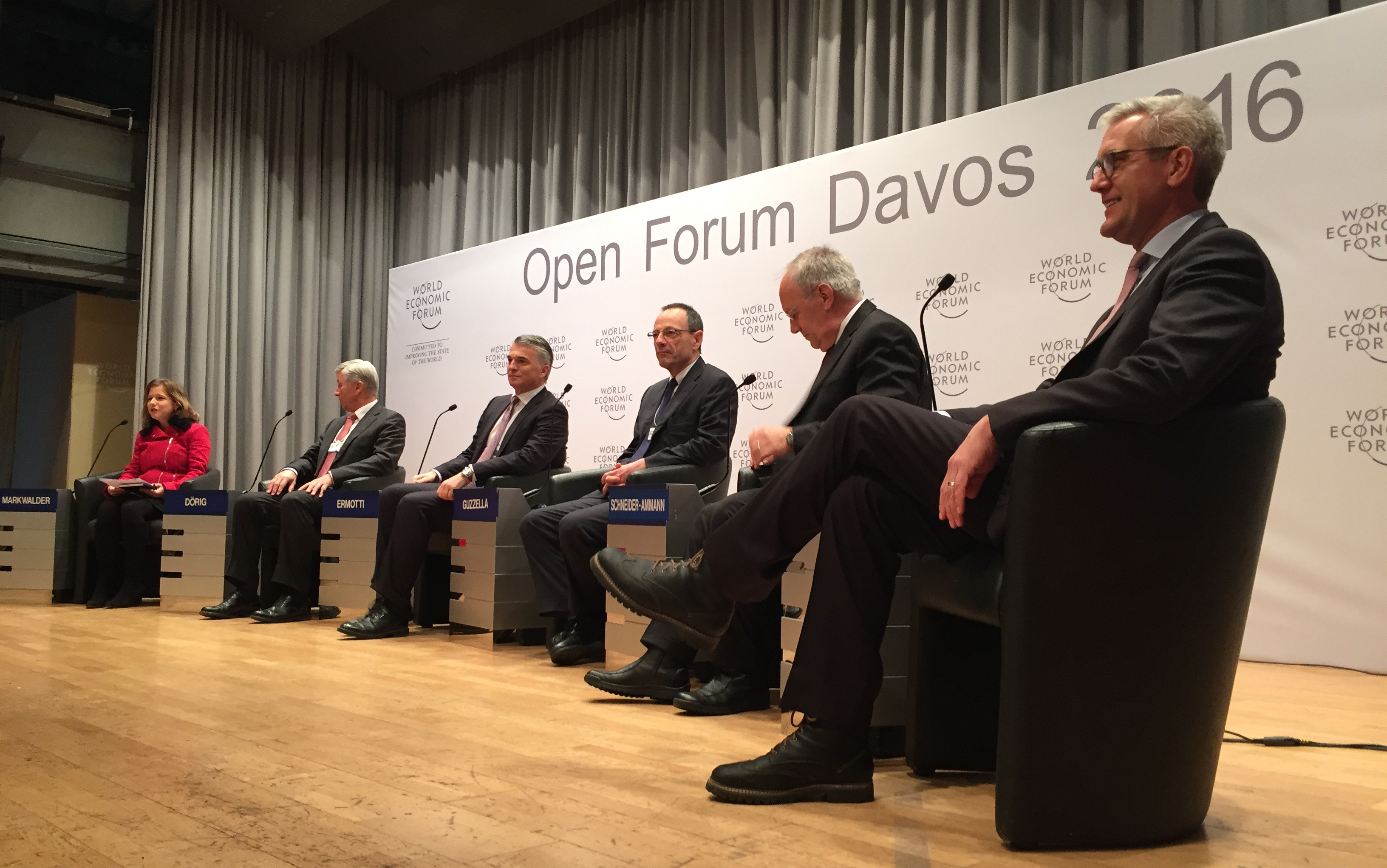 "A meeting of minds at the 2016 World Economic Forum who ask ""Can Switzerland sustain its economic and political models in the long run?"""